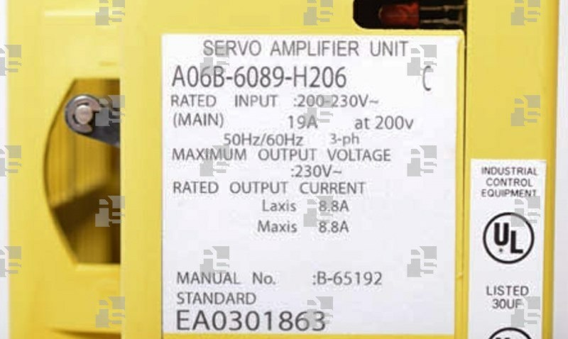 A06B-6089-H206 SERVO AMPLIFIER SVU 2-40/40 PWM INTERFACE TYPE A/B